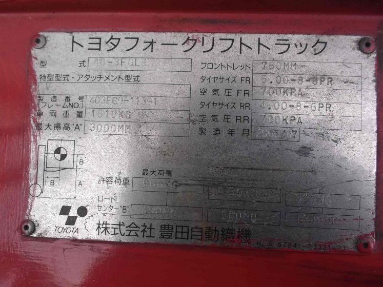 トヨタ 中古フォークリフト